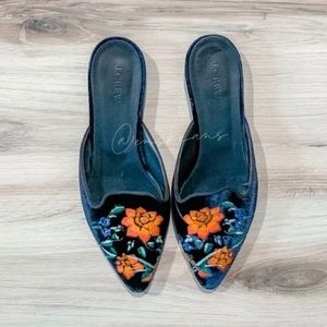 J. Crew Floral Embroidered Mules
